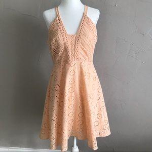 New Gianni Bini Peach Eyelet Dress medium